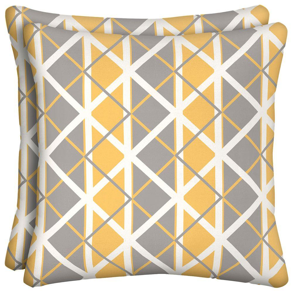 hamptonbay Hampton Bay Seville Lattice Outdoor Throw Pillow (2-Pack), Grey/Yellow