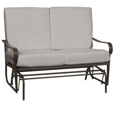 Oak Cliff Brown Steel Outdoor Patio Glider with CushionGuard Stone Gray Cushions