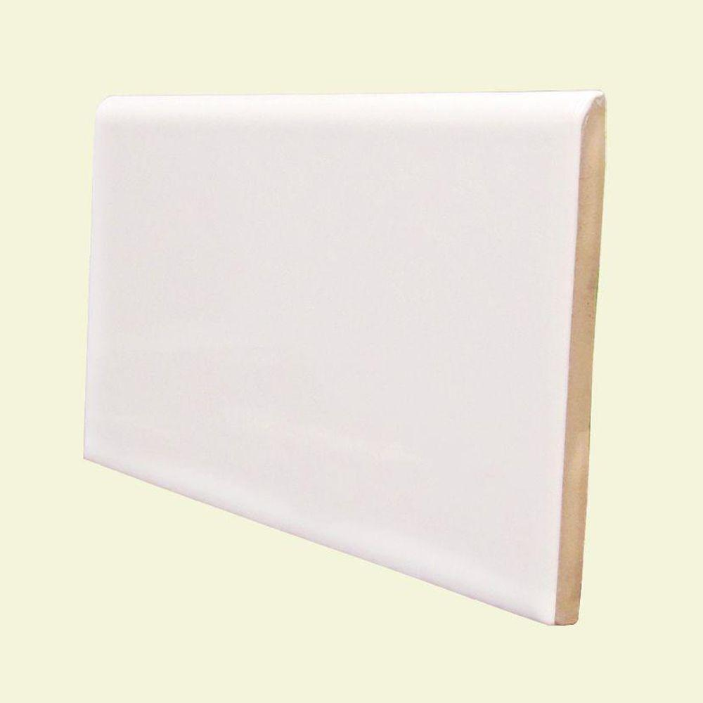 U.S. Ceramic Tile Color Collection Matte Snow White 3 in. x 6 in. Ceramic Surface Bullnose Wall Tile-DISCONTINUED
