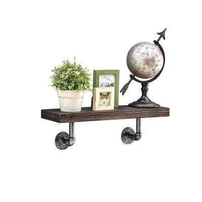 24 in. x 7 in. Floating Pipe Industrial Ebony Rustic Wall Mount Decorative Shelf