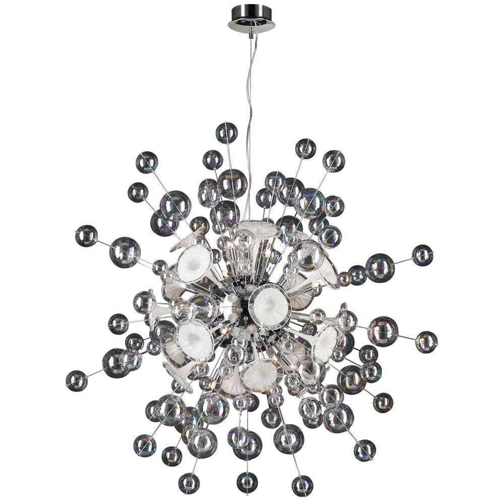 PLC Lighting 30-Light Polished Chrome Pendant with Clear White Glass Shade