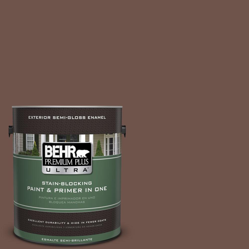 BEHR Premium Plus Ultra 1-gal. #N150-6 Coffee Beans Semi-Gloss Enamel Exterior Paint
