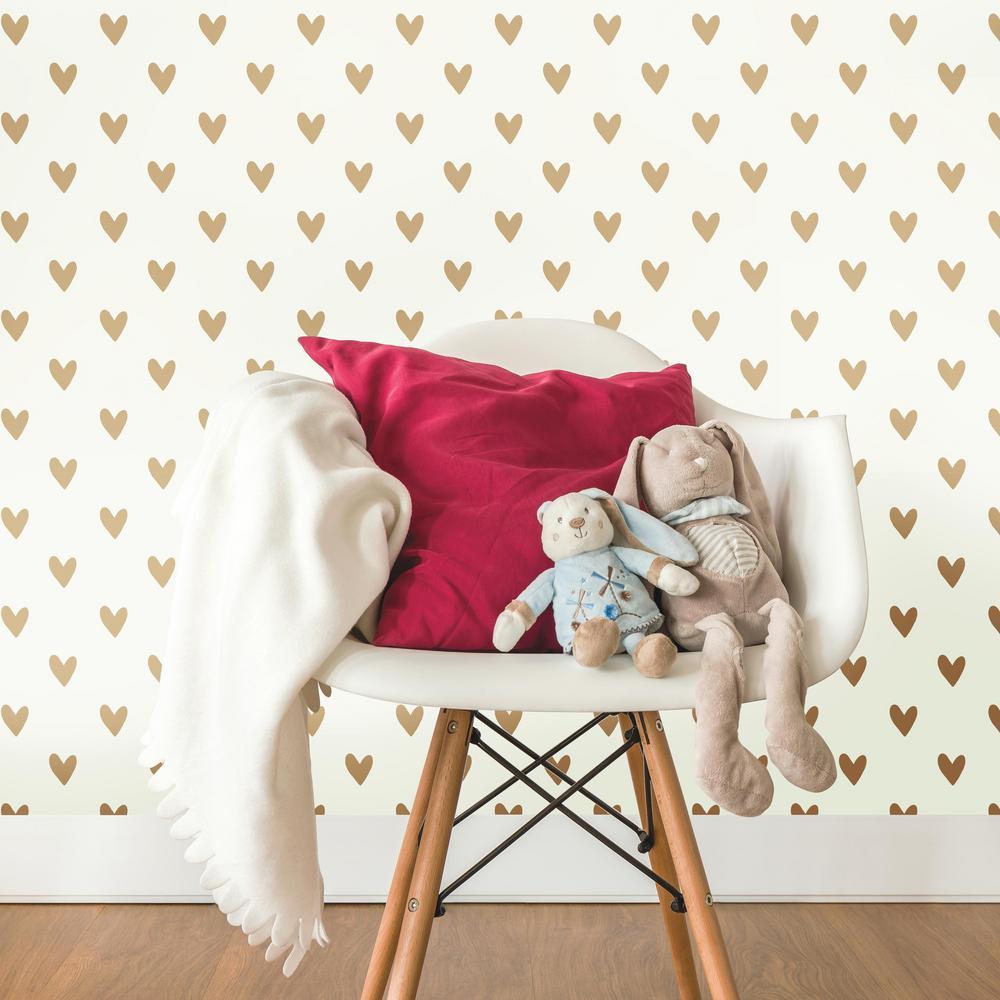 28.18 sq. ft. Gold Heart Spot Peel and Stick Decor