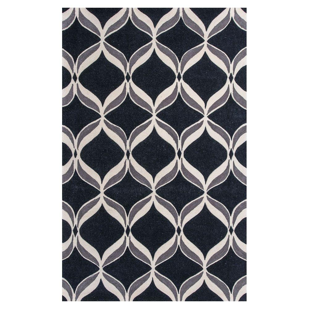 Kas Rugs Focus in Black/Ivory 6 ft. 6 in. x 9 ft. 6 in. Area Rug