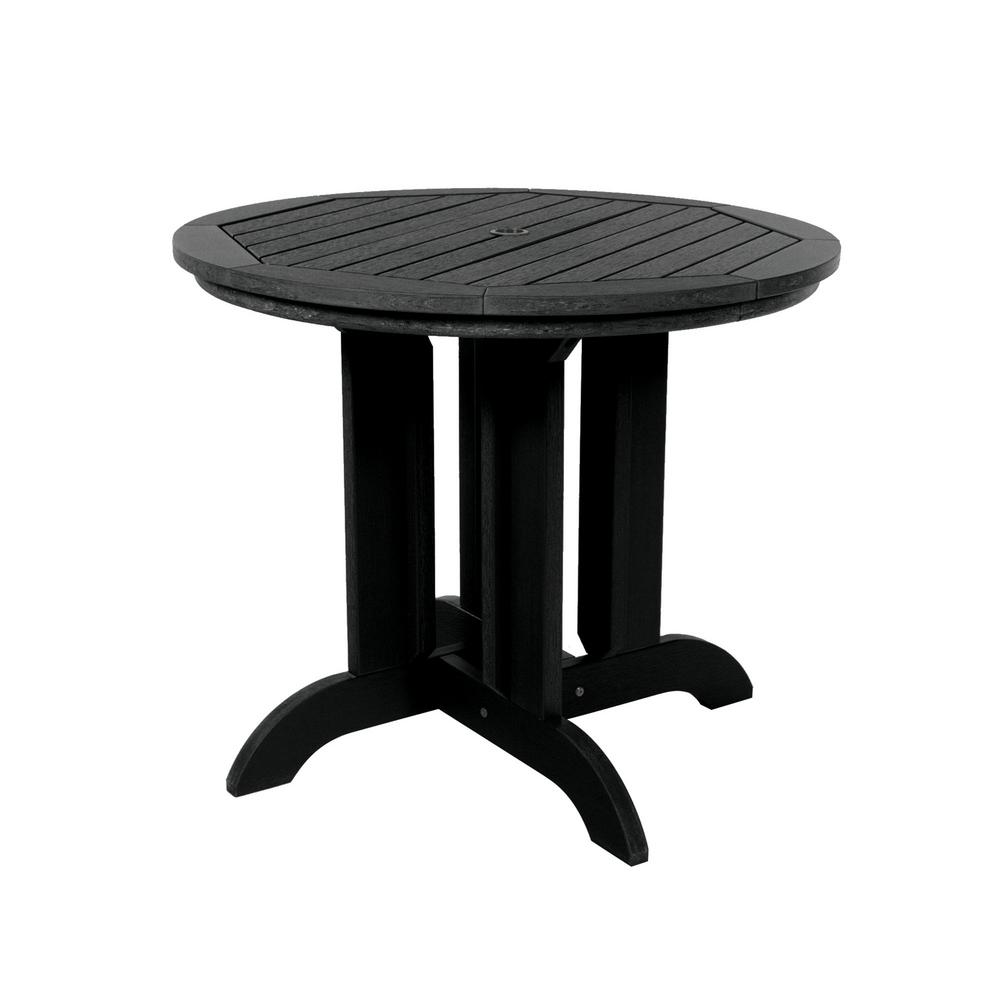 Highwood Black Round Recycled Plastic Outdoor Dining Table