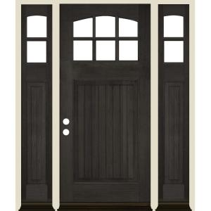 Krosswood Doors 50 In X 80 In Craftsman V Groove Rh 1 4 Lite Clear Glass Black Stain Douglas Fir Prehung Front Door With Rsl Phed Df 553v 30 68 134 Rh Rsl 512 Black The Home Depot