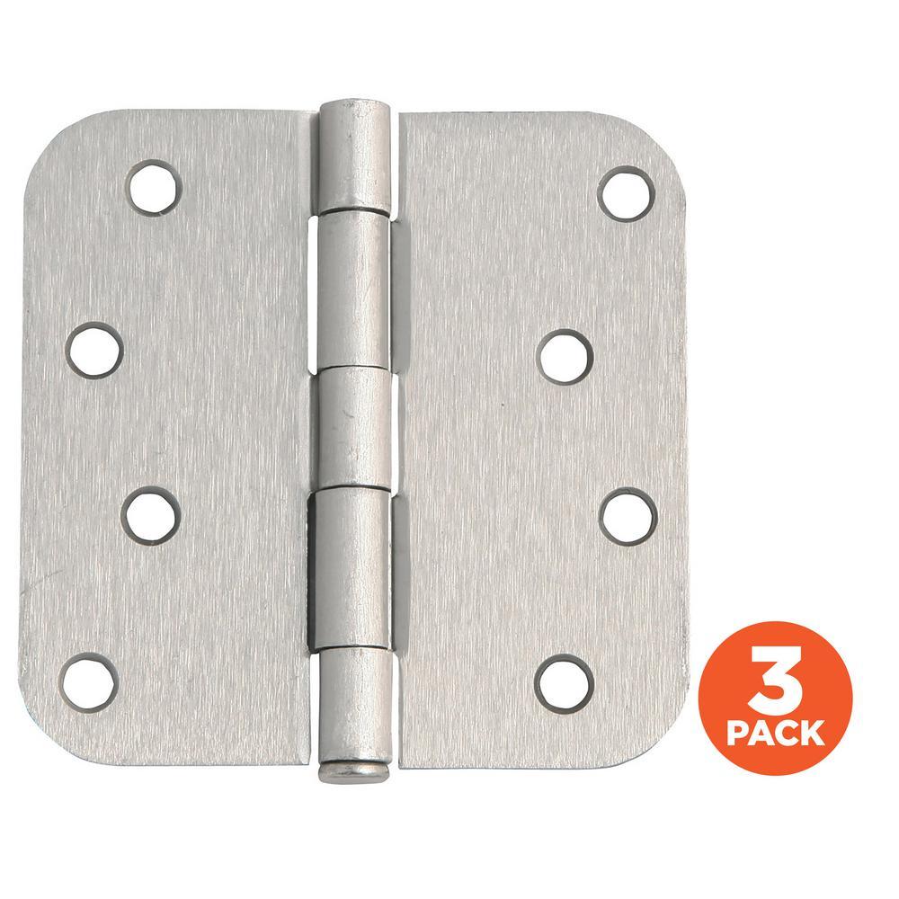 4 in. x 5/8 in. Radius Satin Nickel Door Hinge Value Pack (3 per Pack)