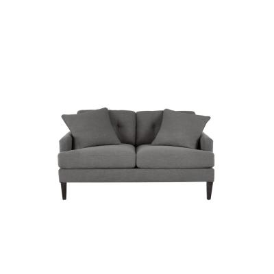 Pembrook Cambric Charcoal Gray Straight Standard Sofa with Tufting for 2 (60.5 in. W x 33.5 in. H)
