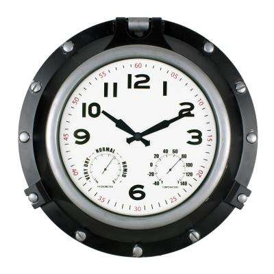 18 in. Black Porthole Clock/Hygrometer or Thermometer