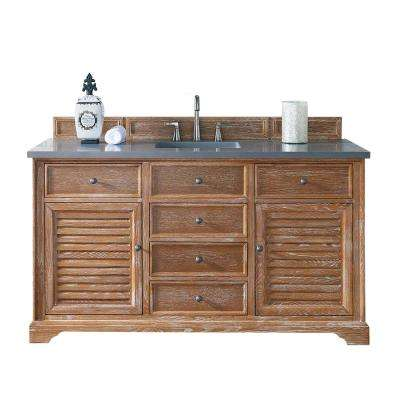 Savannah 60 in. W Single Vanity in Driftwood with Quartz Vanity Top in Gray with White Basin