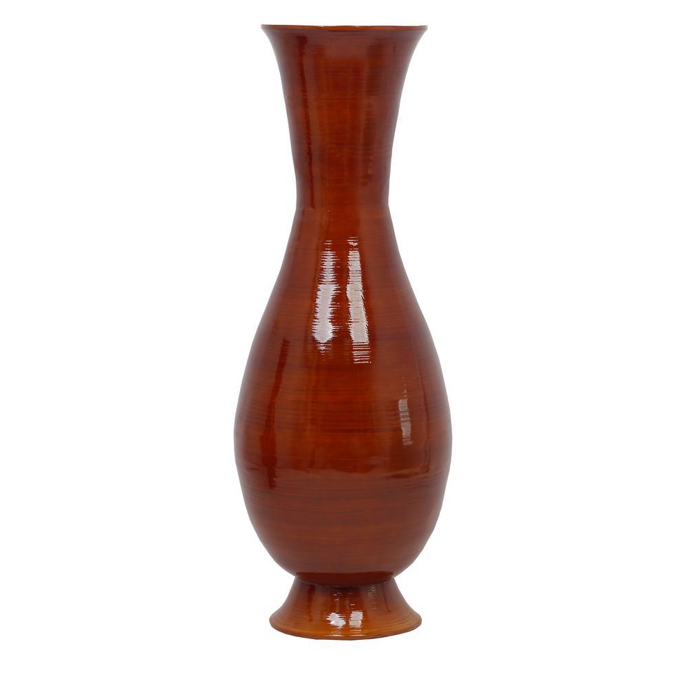 43 in. Tall Brown Modern Handmade Bamboo Floor Vase