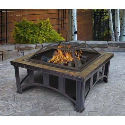 Outdoor Leisure Model 5502 Thirty Inch Firepit with Decorative Slate Hearth and Oil Rubbed Bronze Finish