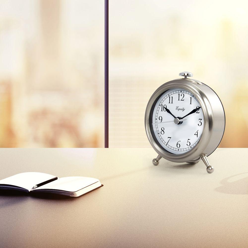 Small 3 in. Metal Quartz Alarm Table Clock, Silver
