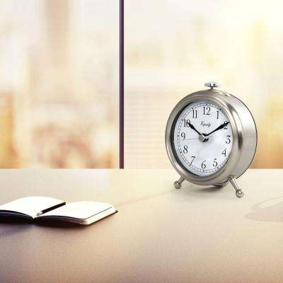 Small 3 in. Metal Quartz Alarm Table Clock