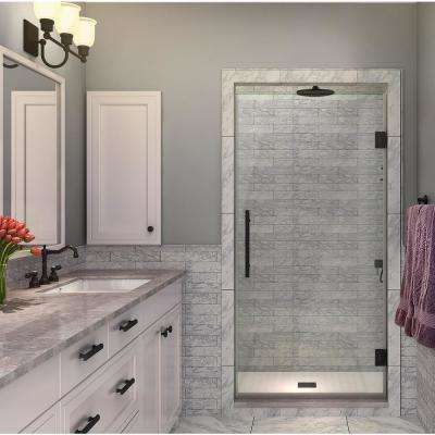 Kinkade 33.75 in. to 34.25 in. x 72 in. Frameless Hinged Shower Door in Matte Black