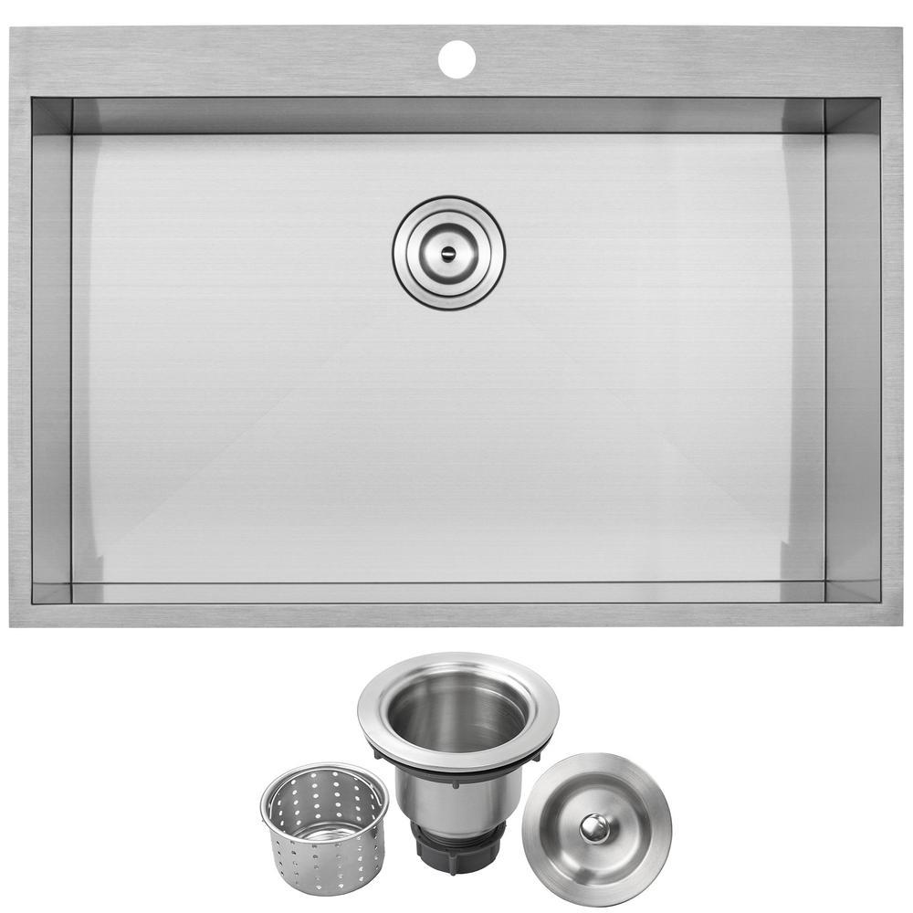 Arlo Zero Radius Drop-In 18-Gauge Stainless Steel 33 in. Single Bowl Kitchen Sink with Basket Strainer