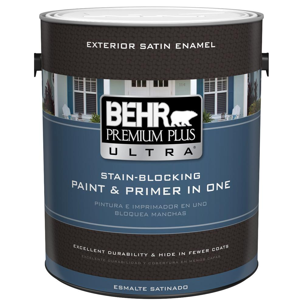 Behr Premium Plus Ultra 1 Gal Ultra Pure White Satin Enamel Exterior Paint 985001 The Home Depot