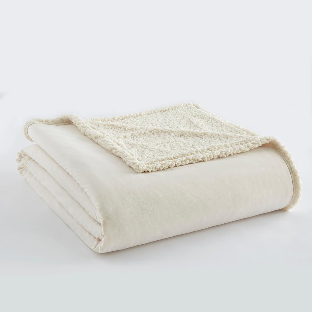 Ivory Sherpa Back Polyester King Blanket