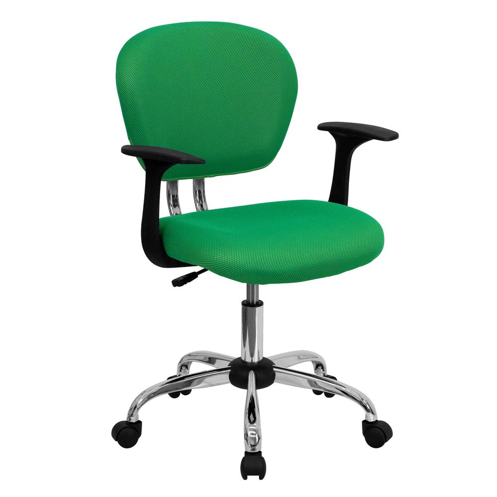 Mid-Back Bright Green Mesh Swivel Task Chair with Chrome Base and