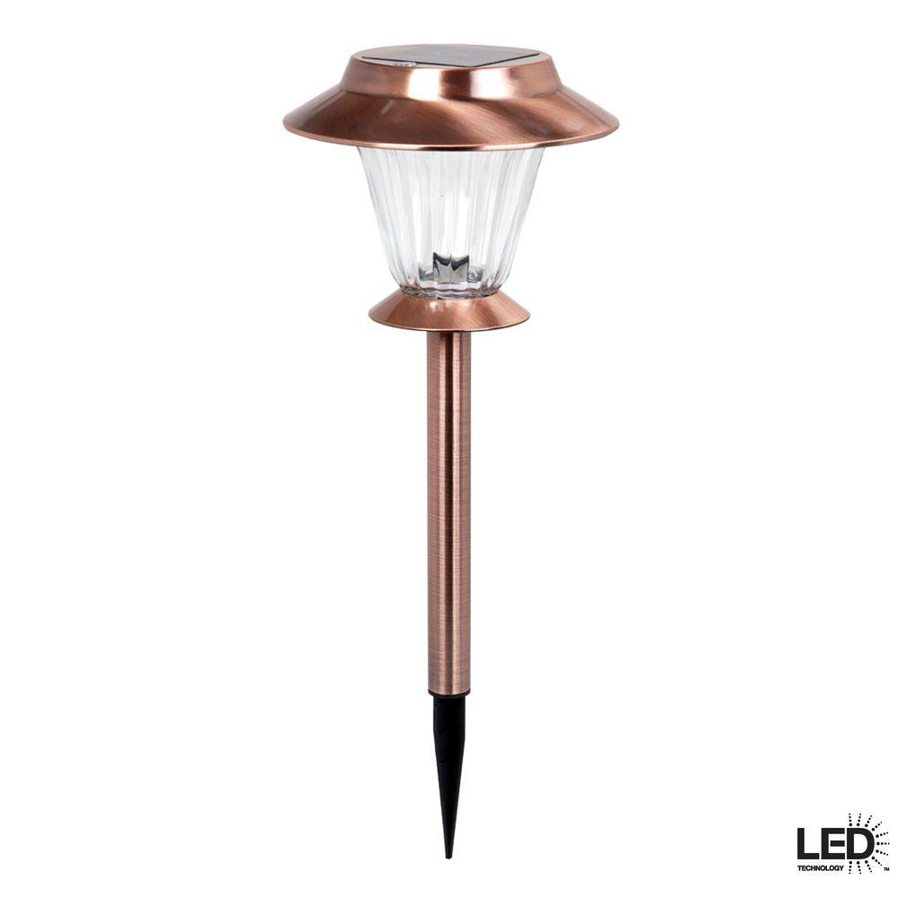 Hampton bay outdoor antique copper solar led walk light for Electric walkway lights