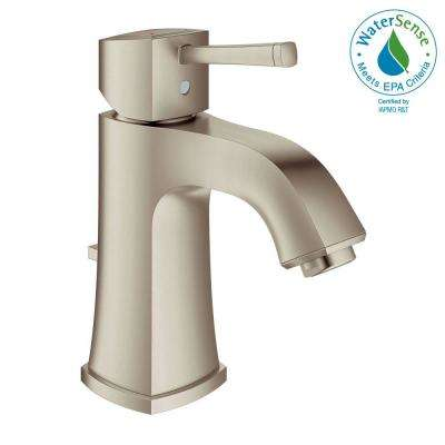Grandera Deck-Mount 4 in. Centerset Single-Handle Low Arc Bathroom Faucet in Brushed Nickel Infinity Finish