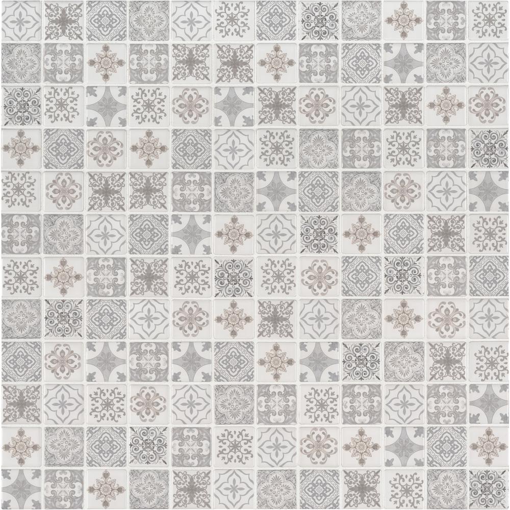 Anya Blanco Encaustic 12 in. x 12 in. x 6mm Matte Ceramic Mesh-Mounted Mosaic Tile (14.55 sq. ft. / case)