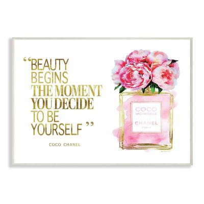 """Fashion Designer Perfume Gold Pink Watercolor Inspirational Word"" by Amanda GreenwoodWood Wall Art 19 in. x 13 in."