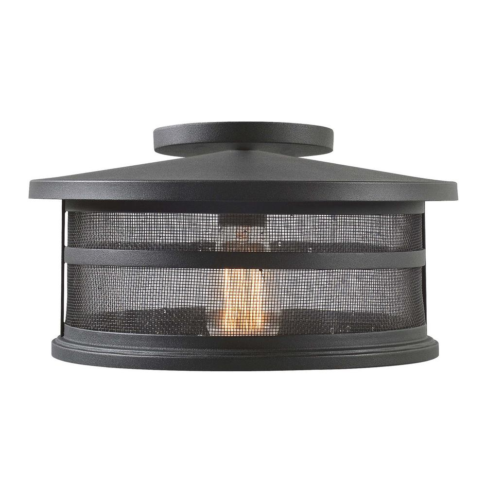 Carlson 1-Light Black Outdoor Semi-Flush Mount