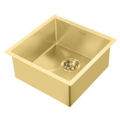 Noah Plus Dual Mount Stainless Steel 17-3/4 in. Single Bowl Kitchen Sink in Brass Sink Kit