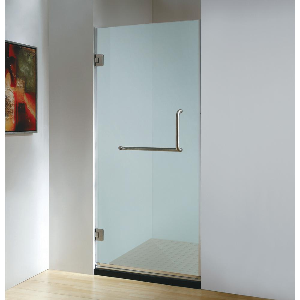 Dreamwerks 30 in. x 79 in. Frameless Hinged Shower Door Frosted ...