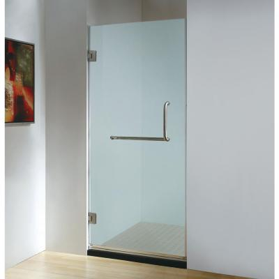 30 in. x 79 in. Frameless Hinged Shower Door Frosted Class in Stainless Steel with Handle