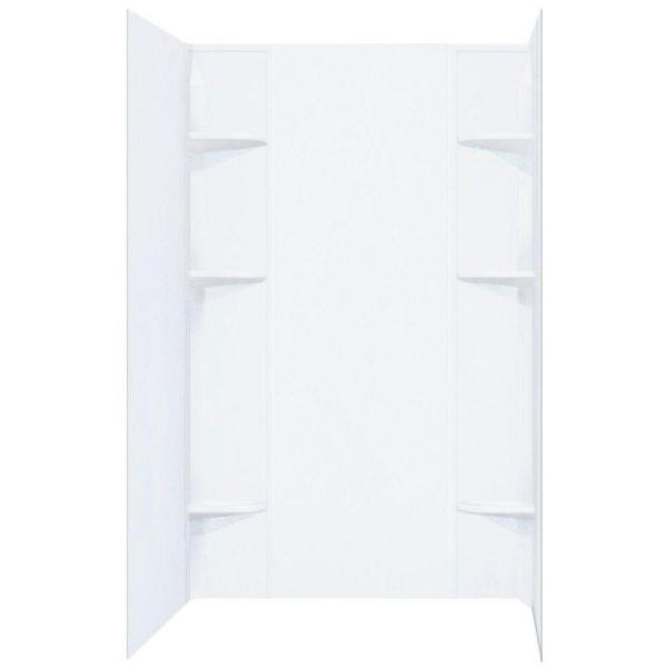 Durawall 40 in. x 60 in. x 71-1/2 in. 5-Piece Easy Up Adhesive Alcove Shower Surround in White