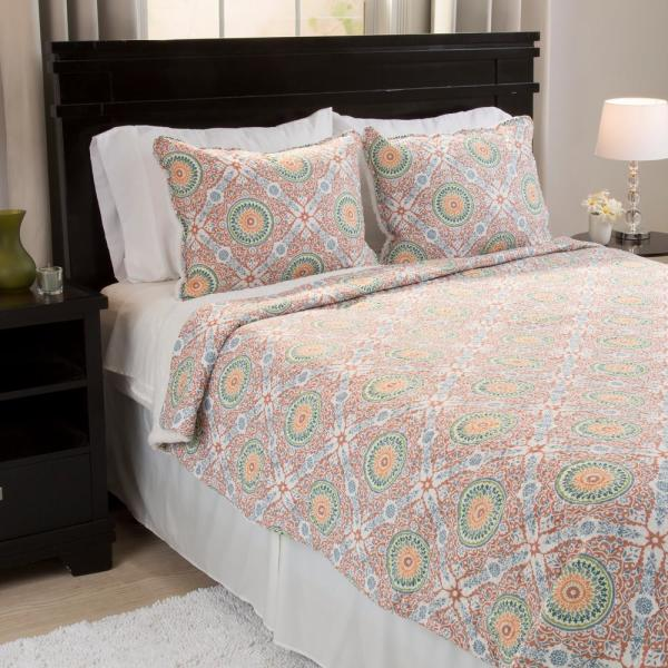 Lavish Home Emilia Reversible Orange Polyester Full/Queen Quilt 66-10054-FQ