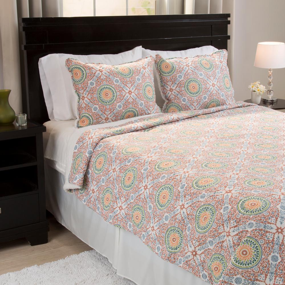 Lavish Home Emilia Reversible Orange Polyester Twin Quilt 66-10054-T