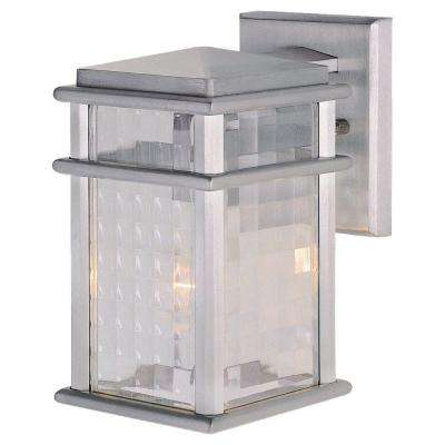 Mission Lodge 5.25 in. W 1-Light Brushed Aluminum Outdoor 9.25 in. Wall Lantern Sconce