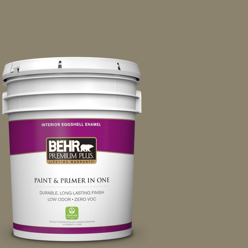 5 gal. #ECC-55-3 Olive Sprig Zero VOC Eggshell Enamel Interior Paint