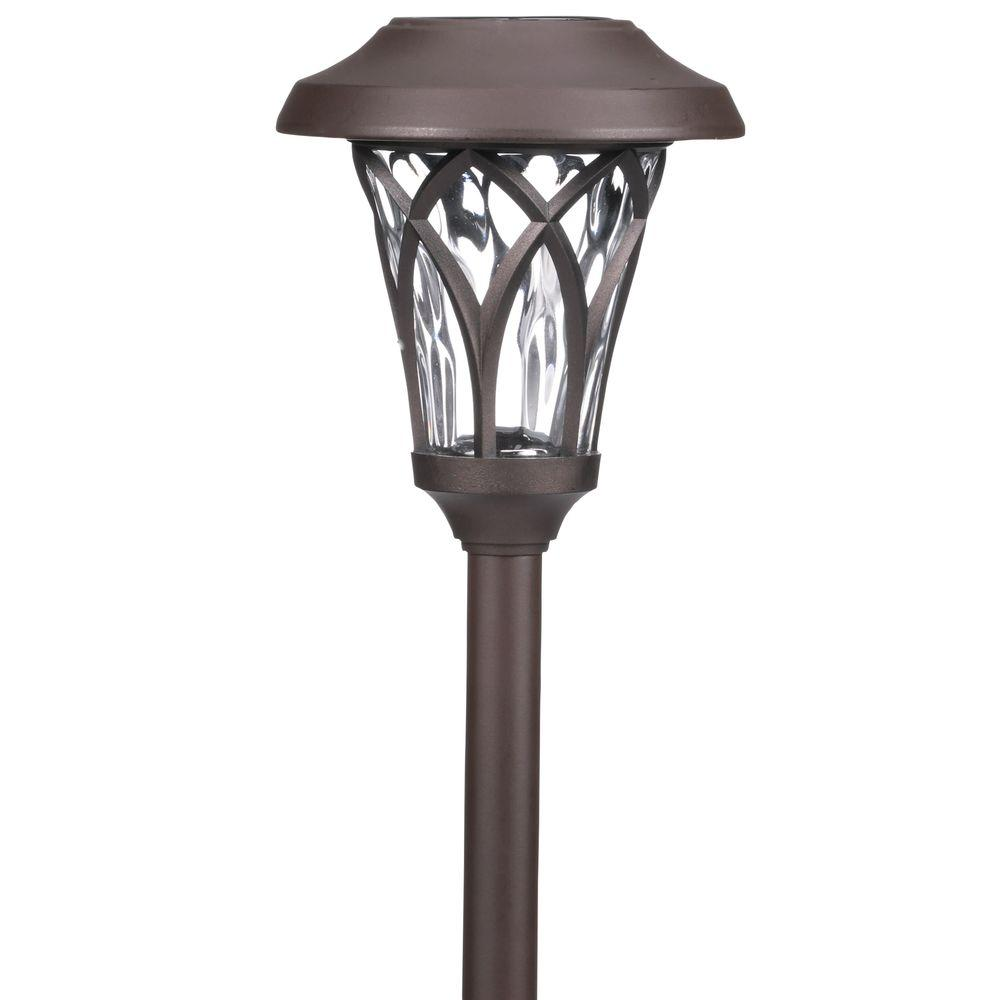 Hampton bay solar bronze outdoor integrated led landscape for Fixture exterieur led