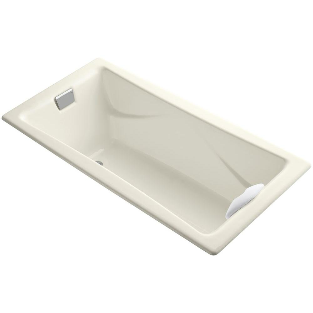 KOHLER Tea-for-Two 6 ft. Rectangle Reversible Drain Bathtub in Biscuit
