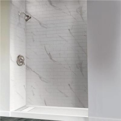 Linear 32 in. x 48 in. Single Threshold Shower Base in White