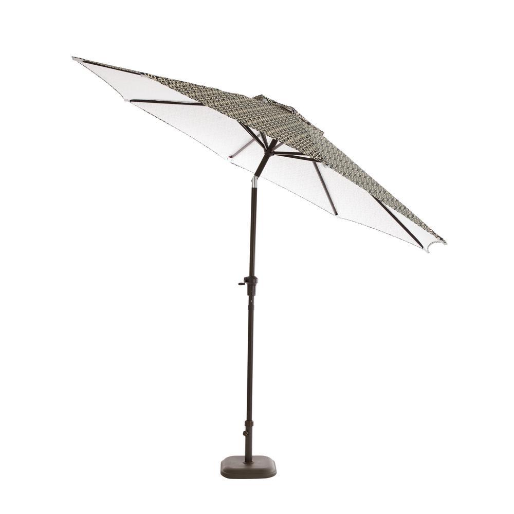 9 ft. Steel Tilt Patio Umbrella in Jasper Trellis