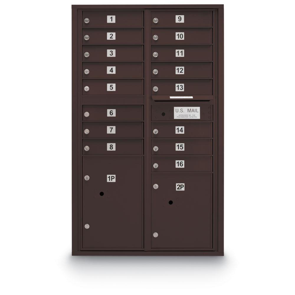 16-Door Standard 4-Compartment Mailbox with 2 Parcel Lockers in Bronze