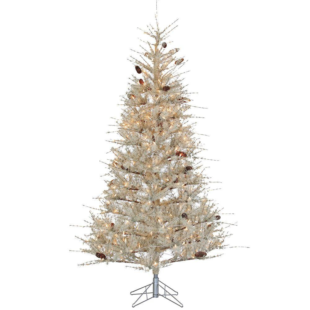 Sterling 7 Ft. Pre Lit Pale Sage Frosted Hard Needle Artificial Christmas  Tree With