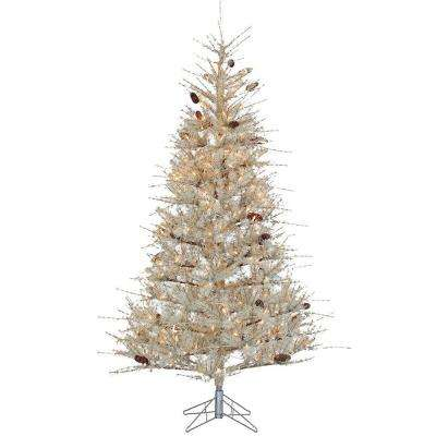 7 ft. Pre-Lit Pale Sage Frosted Hard Needle Artificial Christmas Tree with Clear Lights
