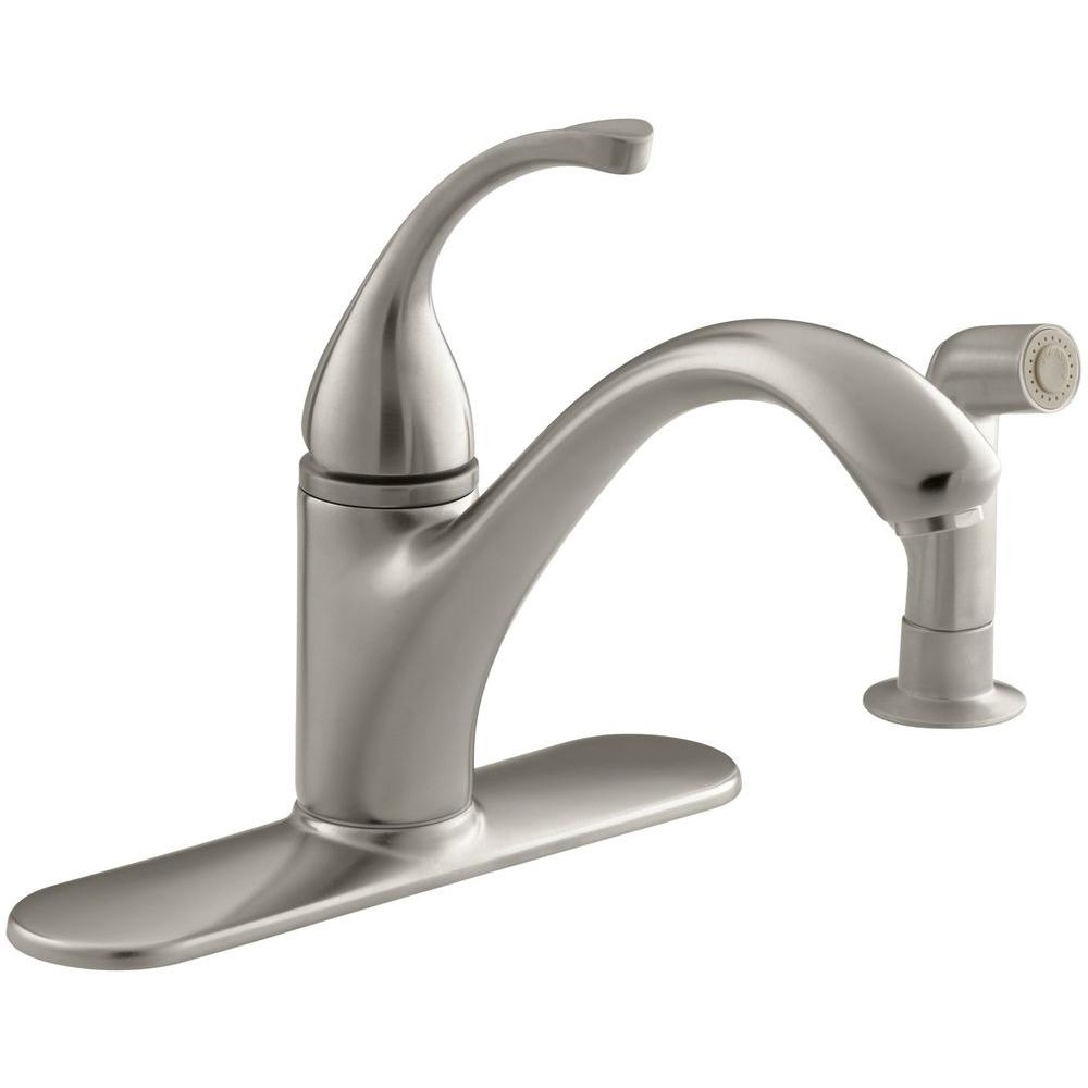 Forte Single Handle Standard Kitchen Faucet With Side Sprayer In Vibrant Brushed Nickel