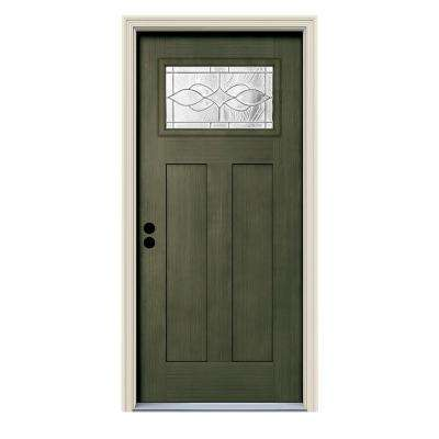 36 in. x 80 in. Juniper Right-Hand 1-Lite Craftsman Carillon Stained Fiberglass Prehung Front Door with Brickmould