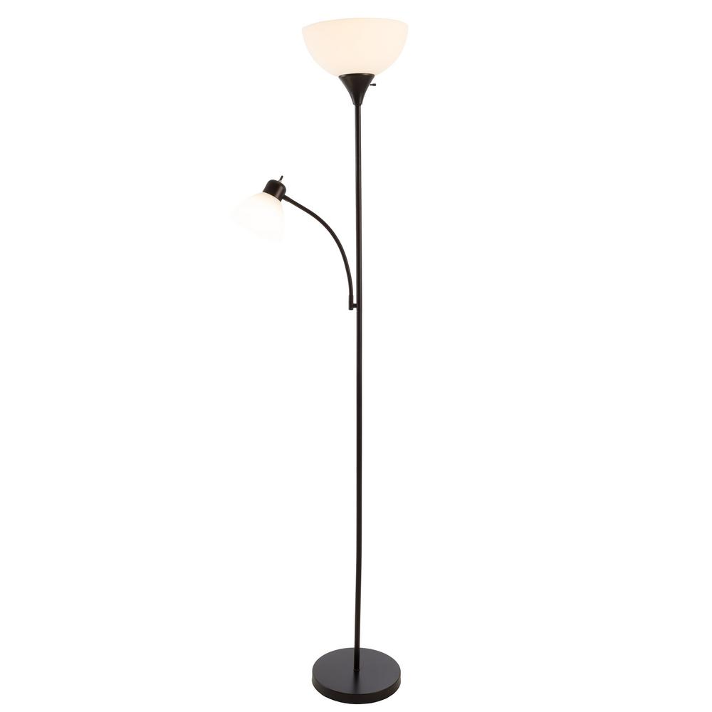 Black Torchiere Floor Lamp With Reading Light And Heat Resistant Shade