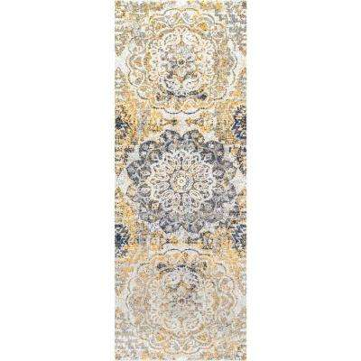 Lita Faded Damask Gold 3 ft. x 8 ft. Runner Rug