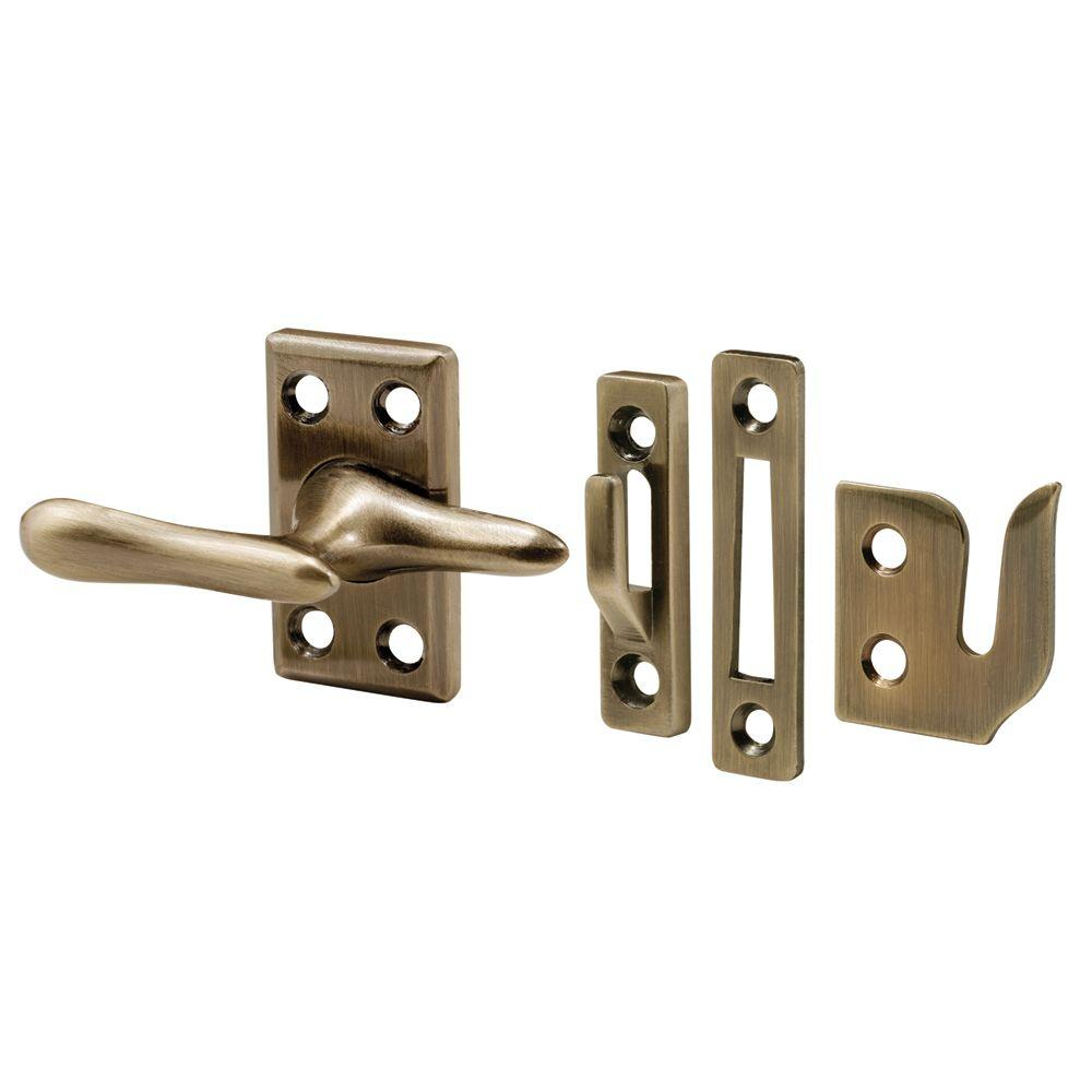 Prime-Line 1-7/8 in. Antique Brass Die Cast Metal Casement Window Sash Lock with Strikes for 3 Different Applications