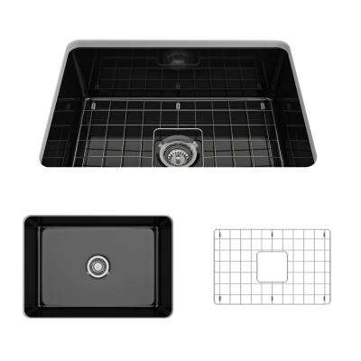 Sotto Undermount Fireclay 27 in. Single Bowl Kitchen Sink with Bottom Grid and Strainer in Black