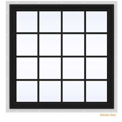 47.5 in. x 47.5 in. V-2500 Series Bronze Painted Vinyl Fixed Picture Window with Colonial Grids/Grilles